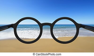 Closeup on eyeglasses with focused and blurred seascape view...