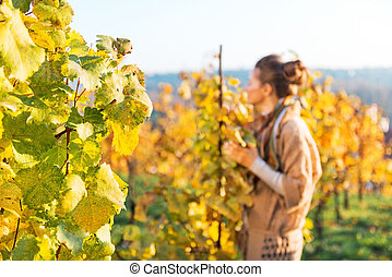 Closeup on grape branch and young woman in autumn vineyard in ba