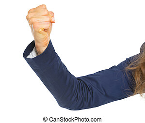 Closeup on hand of business woman threatening