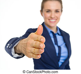Closeup on happy business woman stretching hand for...