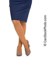 Closeup on legs of business woman