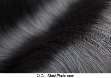 Closeup on luxurious glossy black hair - Closeup on...