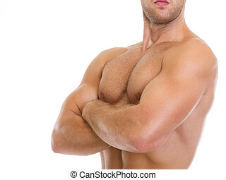 Closeup on muscular man showing chest muscles