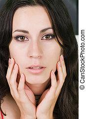 Latina - Closeup on the face of a pretty young Latina