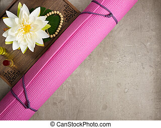 tray with fragrant stuff for aroma yoga, beads, yoga mat - ...