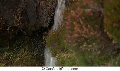 Closeup on waterfall causing erosion and moss