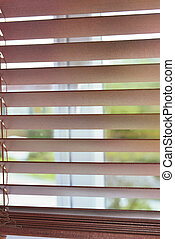 closeup on wooden venetian blind on a windor