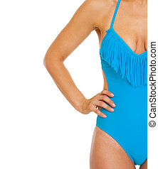 Closeup on young woman in swimsuit