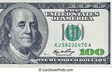 closeup one hundred dollars bill fragment