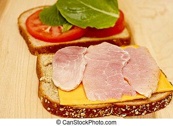 Closeup Open Ham and Cheese Sandwich