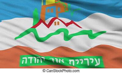 Closeup Or Yehuda city flag, Israel - Or Yehuda closeup...