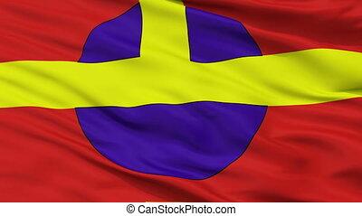 Closeup Ostrow Wielkopolski city flag, Poland - Ostrow...