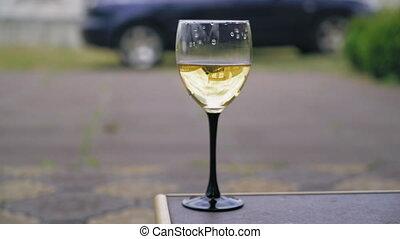 closeup, outdoor., verre vin
