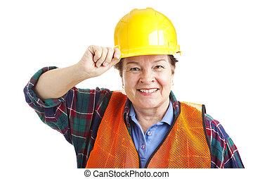 closeup, ouvrier, femme, construction
