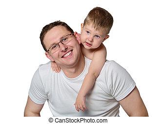 closeup, père, heureux, portrait, ensemble, fils