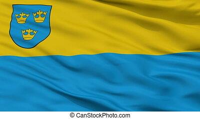 Closeup Pabianice city flag, Poland - Pabianice closeup...
