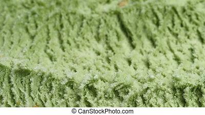 Closeup pan of natural pistachio ice cream , shallow focus