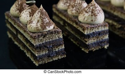 closeup panorama on opera cake slices - closeup panorama on...