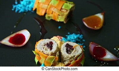 closeup panorama up at trendy decorated vegetable rolls ...