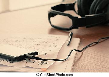 closeup, papel, fone, smartphone, musical, w, notas