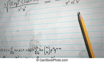 closeup, papier, fond, mathématique, école, éléments, formule