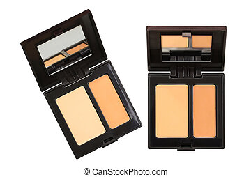 Closeup photo of a concealer palettes in different shades