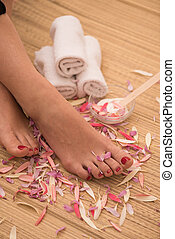 female feet at spa salon