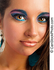 Closeup photo of a girl with beautiful makeup