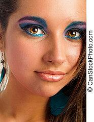 Closeup photo of a girl with beautiful makeup