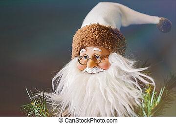 Closeup photo of a Santa Claus toy