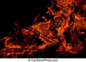 Closeup photo of burning dollars