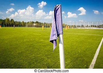 Closeup photo of corner flag on soccer field
