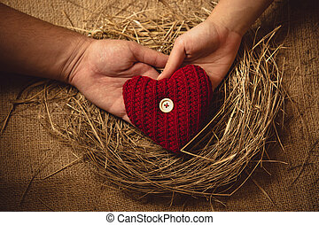 photo of couple in love holding knitted heart at nest