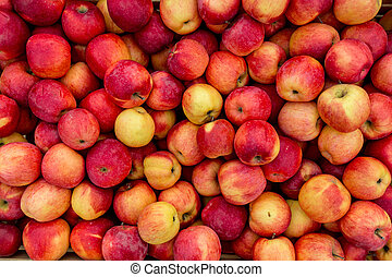 Closeup photo of fresh red and yellow apples