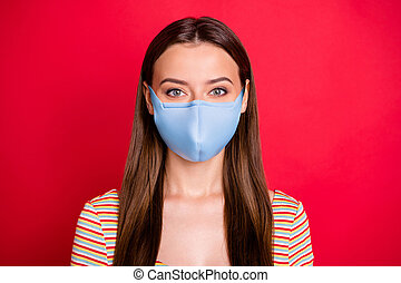 Closeup photo of ideal lady stay home covid-19 quarantine wear medical mask, casual outfit isolated burgundy background
