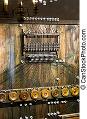 old telephone commutator with a lot of wires