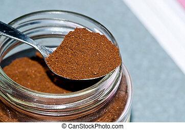 Closeup photo of powdered coffee