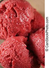 closeup photo of raspberry sorbet balls