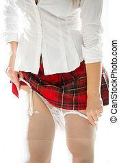 photo of sexy woman in school uniform taking off panties