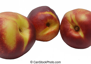 Closeup photo of three nectarine on white background