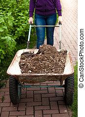 photo of woman holding wheelbarrow with soil - Closeup photo...