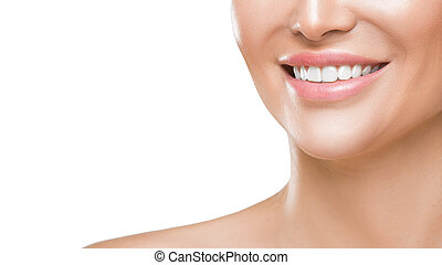 Closeup photo of woman's smile with white healthy teeth, isolated on white background