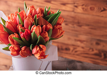 closeup picture of a tulips bouquet