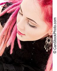 pink hair girl - closeup picture of bizarre pink hair girl