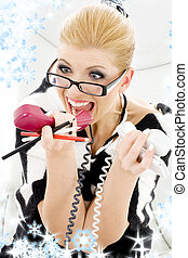 screaming businesswoman - closeup picture of screaming...