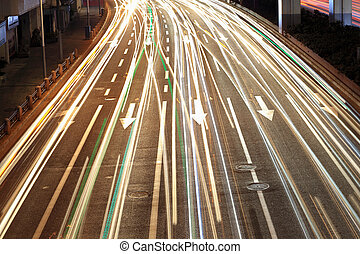 closeup, pistes lumière, route