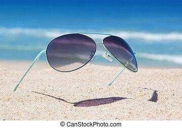 closeup, plaża., seascape., okulary
