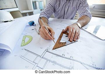 closeup, plany, inżynier, rysunek