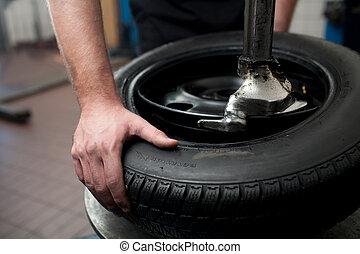 closeup, pneu, changement