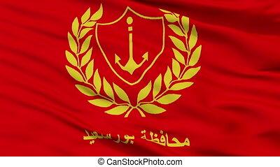 Closeup Port Said city flag, Egypt - Port Said closeup flag,...